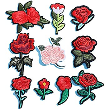 Yesallwas 10 Pieces Iron-On Rose Embroidered Patches Rose Sew on Patches for Jeans Clothing Hat Shoes