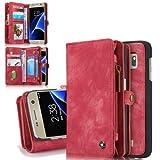 Flip Case Handy-Hülle zu Samsung Galaxy S7 / SM-G930 - Wallet Book EINFARBIG Spalt-Leder - Handy-Tasche Schutz-Hülle Cover Handyhülle Bookstyle Booklet Geldbörse Geldbeutel, Farbe:Deep Pink