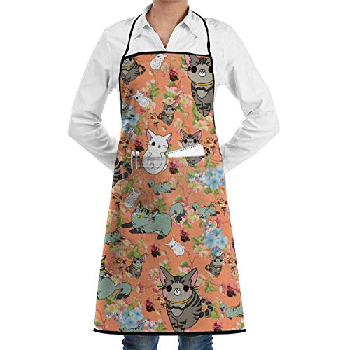 Drempad Schürzen Cat Cartoon Bib Apron Chef Apron - with Pockets for Male and Female,Waterproof, Resistant to Droplets, Durable, Machine Washable, Comfortable, Easy Care Apron Opa Bib