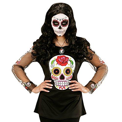 NET TOYS Sugar Skull Shirt La Catrina Kostüm Halloween Outfit Damen Dia de los Muertos Damenkostüm Tag der Toten Verkleidung Halloweenkostüm (Tag Der Toten Frauen Kostüm)