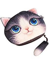 Ocamo 3D Cute Cat Face Printing Coin Purses Women Cartoon Zipper Change Wallets Small Makeup Bag