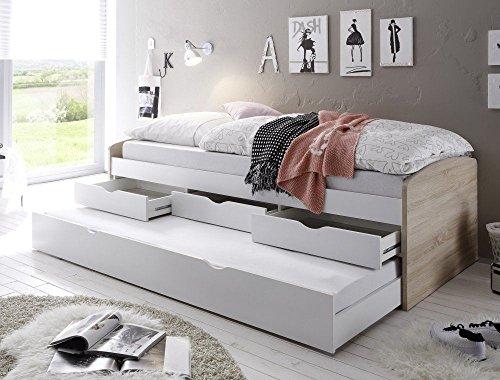 ZEARO Funktionsbett Bettkästen kojenbett tandemliege bett 90x200 cm kinderzimmer jugendzimmer eiche weiss neu