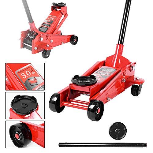 Anaelle Panana Cric di Sollevamento capacità 3T Auto, roulotte, fourgonnettes, Dimensioni: 63x 32cm, Peso: 21kg, Rosso