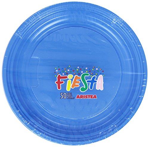Fiesta - Piatti, In Plastica, colore Blu - 50 Pezzi