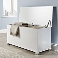Home Source Ottoman Storage Chest Black White Oak Toy Chest Bedding or Blanket Box Large Wooden (White)...