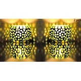 Green Color Glass Candle Holder Housewarming Gift Set Of 2 Pcs 3 Inch