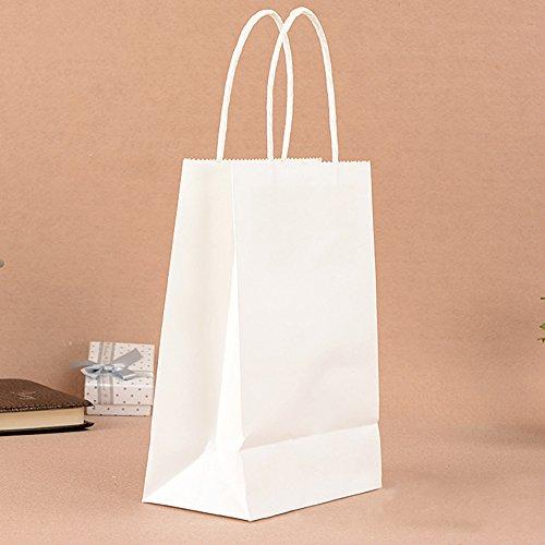 Papier Geschenke Dekoration Paket Tasche mit Griffen Recyclingfähig Shop-Beutel 21 x 15 x 8 cm 21 x 17 x 27 cm (21 x 11 x 27 cm) Weiß 21x11x27cm weiß ()