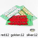 36 Stücke Weihnachten Band Bögen Dekorationen 5x6 cm Weihnachtsbaum Bögen Xmas Ornament, Hochzeit Festival Party Decor Bow (3color, Red, Gold, Silver)