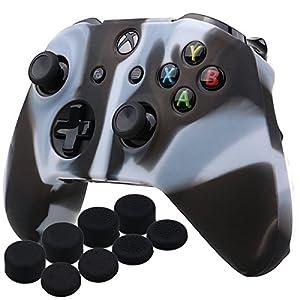 YoRHa Silikon Hülle Abdeckungs Haut Kasten für Microsoft Xbox One X & Xbox One S Controller x 1 (Schwarz-Weiss) Mit Pro aufsätze thumb grips x 8