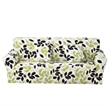 Monba Pattern Print 1 2 3 4 Seater Sofa Cover Couch Slipcover Stretch Arm Chair Love Seat Sofa Covers Couch Settee Furniture Protector(3 Seater:185-230cm,Leaf)