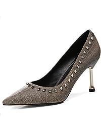 Zapatos de Tacón Alto de Las Mujeres Bombas Remaches Tacones de Aguja Trabajo Elegante Zapatos de la Carrera Zapatos...