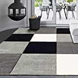 VIMODA Moderner Designer Teppich, Kariert, handgeschnittene Konturen, Farbe Grau Weiß Schwarz- ÖKO TEX Zertifiziert - Pflegeleicht, Maße:160 x 230 cm