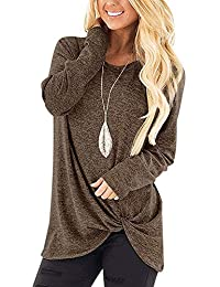 Aokosor Womens Tops Long Sleeve Round Neck Blouses Color Block Side Knot Tunics