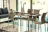 Glastisch 'Charlotte' Küchentisch 74x170cm ausziehbar auf 170cm, Farbe:Weiß