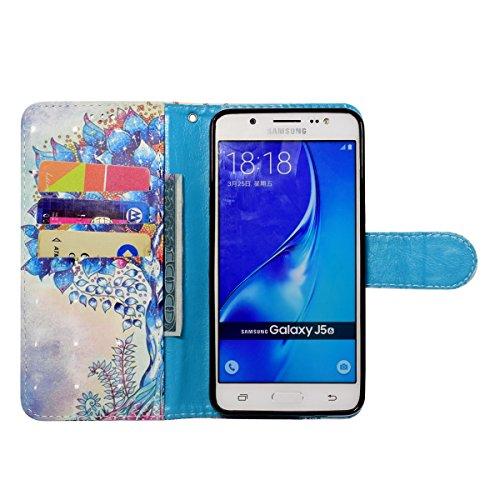 Coque Galaxy J5 2016, Etui pour Samsung Galaxy J5 2016, ISAKEN Bling Strass Cristal PU Cuir Flip Magnétique Portefeuille Etui Housse de Protection Coque Étui Case Cover avec Stand Support et Carte de  arbre brillant