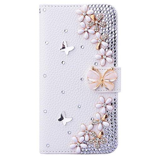 iPhone 7 Hülle, Yokata Luxury Flip PU Leder Case mit DIY Perle Schutzhülle Bling Glitzer 6D Cover Standfunktion und Kreditkarte Tasche Wallet Schutzhülle Blumen 3