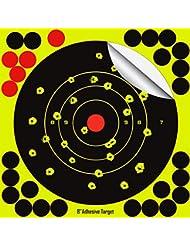 "8"" Yellow Adhesive Splatter Target - See Your Shots Instantly Burst Bright Fluorescent Yellow Upon Impact for Gun, Rifle, Pistol, AirSoft, BB Gun, Pellet Gun, Air Rifle Shooting Targets, 25 Pack"