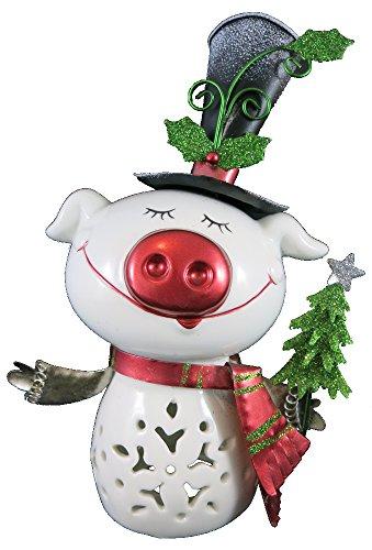 Dekofigur Weihnachtsschweinchen 19cm aus Keramik und Metall - Weihnachtsschwein - Tannenbaum - Weihnachtsbaum - Glücksschwein (19 Keramik-weihnachtsbaum)