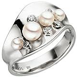 JOBO Damen Ring breit 925 Sterling Silber 4 Akoya Perlen 5 Zirkonia Perlenring Größe 54