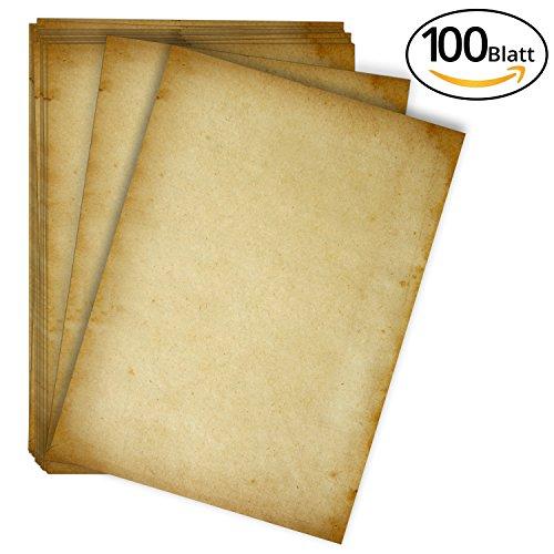 Altes Papier-Set | hochwertiges 100g/m² A4 Vintage Briefpapier | für Einladungskarten zur Hochzeit, Konfirmation, Kommunion oder zum Geburtstag – Antike Deko,