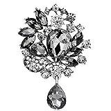 Bai Sie Mei Damen Classic Stil klar Glas Blume Brosche Kristall Strass Schmuck 11Kampfsportarten - schwarz -
