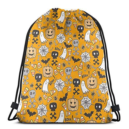best gift Halloween Skulls Bat Pumpkin Spiderweb Drawstring Bags Gym Bag Backpack Shoulder Sackpack 16.9x14 inch