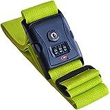 Globeproof® Koffergurt farbig TSA mit Zahlenschloss – Gepäckgurt / Kofferband grün extra lang für den Urlaub