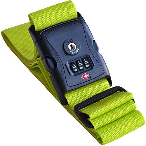 Cinghia per valigia verde con lucchetto a combinazione approvato TSA - Cintura bagaglio extra lungo (Neon Viaggi Cintura)