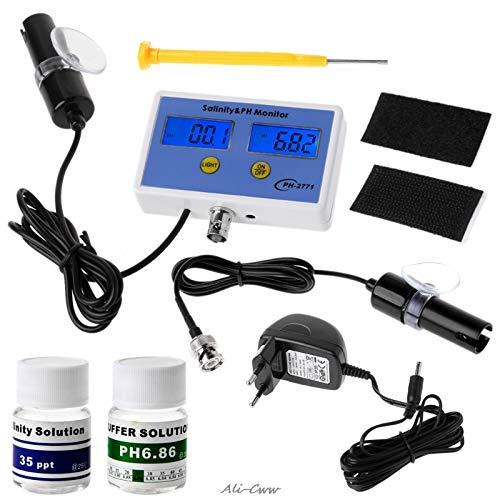 Monitor calidad agua 2in1 medidor pH salinidad digital