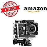 """Rewy 1080p Sports Waterproof Camera With Micro Sd Card Slot And Multi Language Action Video Waterproof Camera Up To 30M 2"""" Inch LCD Super Wide Angle Sport Camera Compatible With All Android IOS And Windows Devices {Assorted Colour}"""