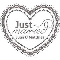 Auto Adhesivo decorativo para bodas para luna trasera Alemán Just Married con nombre personalizado