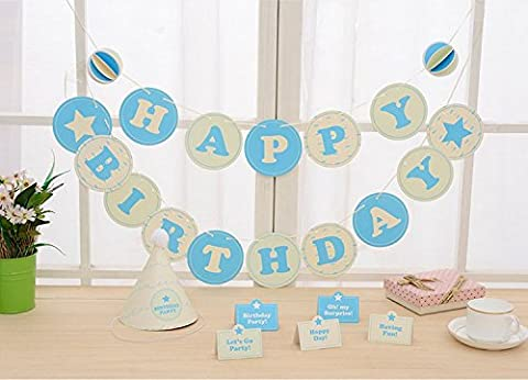 Veewon HAPPY BIRTHDAY Bunting Banner Set with Garland, Hat, Cards for Birthday Party Favor Flag Banners Decoration (Blue)