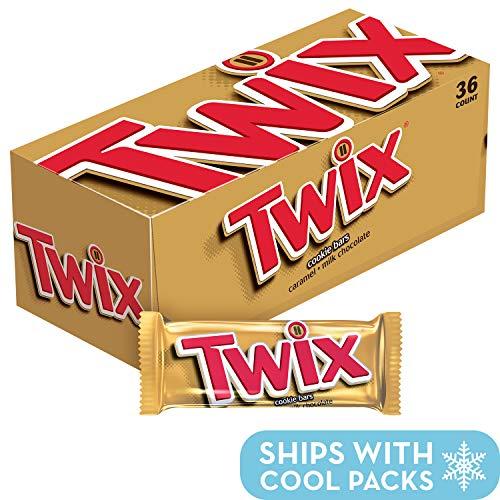 TWIX Caramel Singles Size Chocolate Cookie Bar Candy 1.79-Ounce Bar 36-Count Box (Twix Bars)