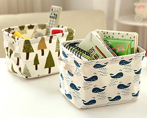 Doitsa Caja de almacenamiento Cesta de recogida de ropa Cosméticos Papelería Ropa Interior Juguetes Caja de acabado de escritorio Caja de almacenamiento cosmética Patrón de ballenas