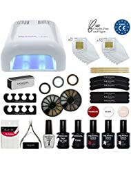 KIT MANUCURE SEMI-PERMANENT • Vernis à ongles gel polish semi-permanent & Lampe UV Unic • KIT MANUCURE DELUXE XXL NAIL ART by Meanail® Paris • Coffret ultra complet = 3 Gel Polish Colors + Base/Top Coat + Huile pour cuticule + Lampe + Accessoires NAIL ART • Garantie 3/4 SEMAINES • White Edition • Glamour, Nail-friendly, Vegan & Cruelty free • Normes CE