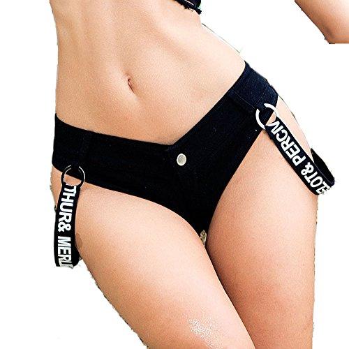 Damen Mini Hot Sexy Women Low Rise Lace Jean Denim Shorts Pants (L, Stil-5 Schwarz) (Rise Mini Kurze Low)
