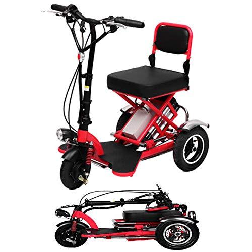 DBSCD Mini Elektrisches Dreirad Falten Elektroroller Erwachsene Lithium Tragbare Für Behinderte Ältere Batterie Auto 48 V Kann Für 60 Km Rot, Rot