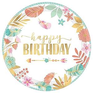 Amscan International 592106 - Vajilla de papel y plástico, placa Mt Boho cumpleaños niña 27 cm