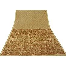 Vintage Pure Silk Sari indio Impreso arte de la tela del abrigo usado floral beige Sari