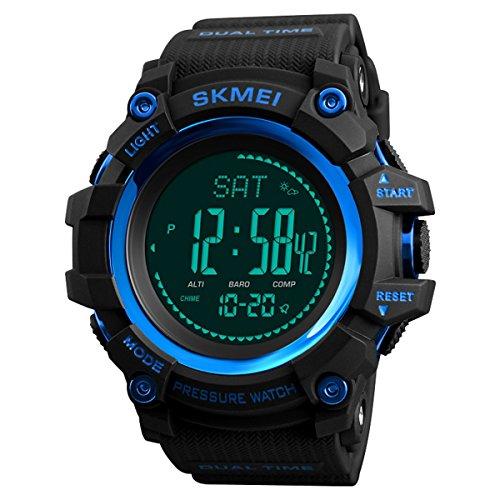 longqi Outdoor Sport Watch mit Höhenmesser Barometer Kompass Multifunktions-Uhr für Männer (blau)