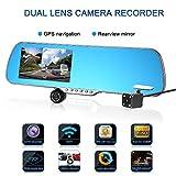 Auto Kamera, LESHP Dual Lens 5 Zoll Rückspiegel Auto Dash Cam, 1080p Auto Recorder mit G-Sensor, Loop Aufnahme, Modus, Bewegungserkennung, Auto Überwachungstechnik Rückfahrhilfe Einparkhilfen Rückspiegel Videogeräte Komplettsysteme