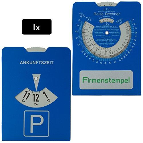1x Parkscheibe aus Karton für PKW | Reiserechner für Benzinverbrauch und Stempelfeld auf der Rückseite | 11 x 15 cm | Stabile Ausführung