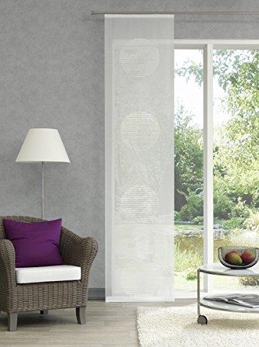 Schiebegardine transparent mit auffälligen Kreisen Farbe weiß (Kreis Raumteiler)