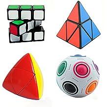 HJXDtech- 4 más nuevos populares irregular cubo mágico Conjunto de 1x3x3 + 2x2 + 2x2 Mastermorphix rompecabezas del cubo de la bola Pyraminx + arco iris