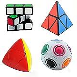 MZStech Juego de cubo mágico de 4 paquetes Incluye 2x2x2 Pyraminx...