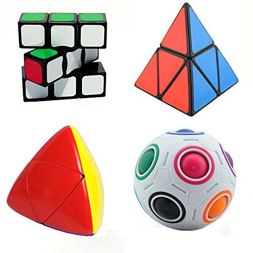 MZStech Set di 4 pacchetti Cubo Magico Includere 2x2x2 Pyraminx Cube + 1x3x3 Magic Cube + Rainbow Ball Cube + Mastermorphix Cube