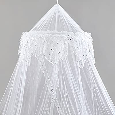 Mosquito Nets 4 U Bed Canopy with Silver Sequined Valance - Parent