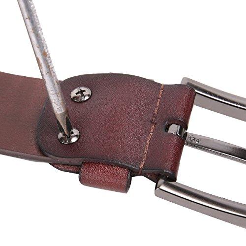 Leathario ceinture en cuir unisexe ceintures cuir pour hommes et femmes ceintures de boucles fixation de aiguille Café