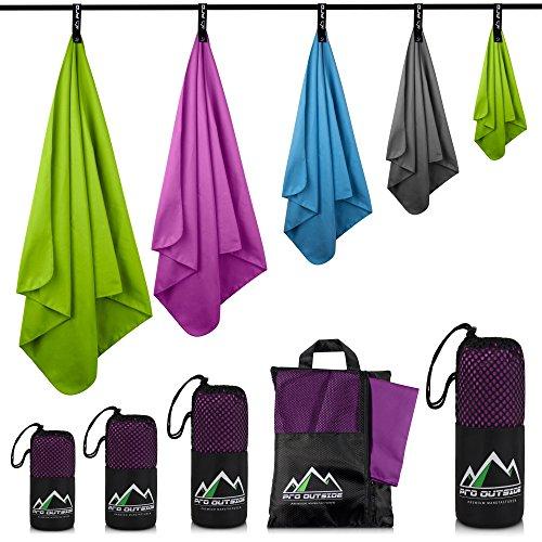 Premium Set Mikrofaser Handtücher 2 mal 80 x 40 cm I GRATIS E-Book und Aufbewahrungstasche I Sehr saugfähig, schnelltrocknend, leicht und antibakteriell I Geeignet für Sport, Outdoor, Camping...