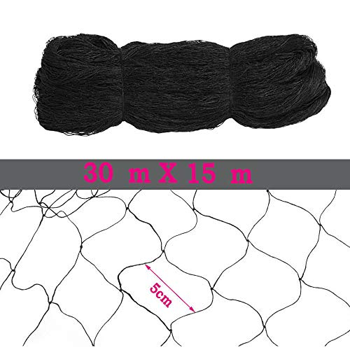 SENDERPICK 30 * 15 Mt Anti Bird Netting Schwarz, Anti Bird Protection 5 * 5 cm Löcher Mesh Netting für Vogel Ernte Obst Gartenteich Agricultural Protection